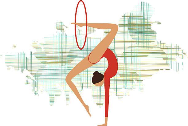 Rhythmic gymnastics vector art illustration