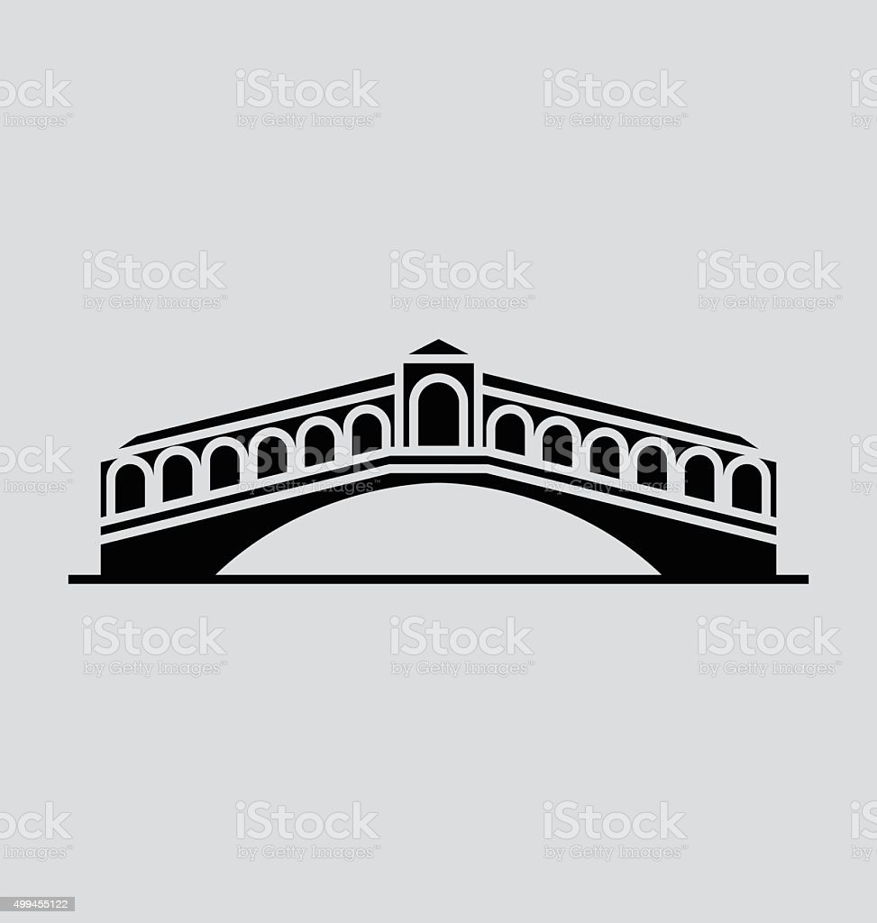 Rialto Bridge Solid Vector Illustration vector art illustration
