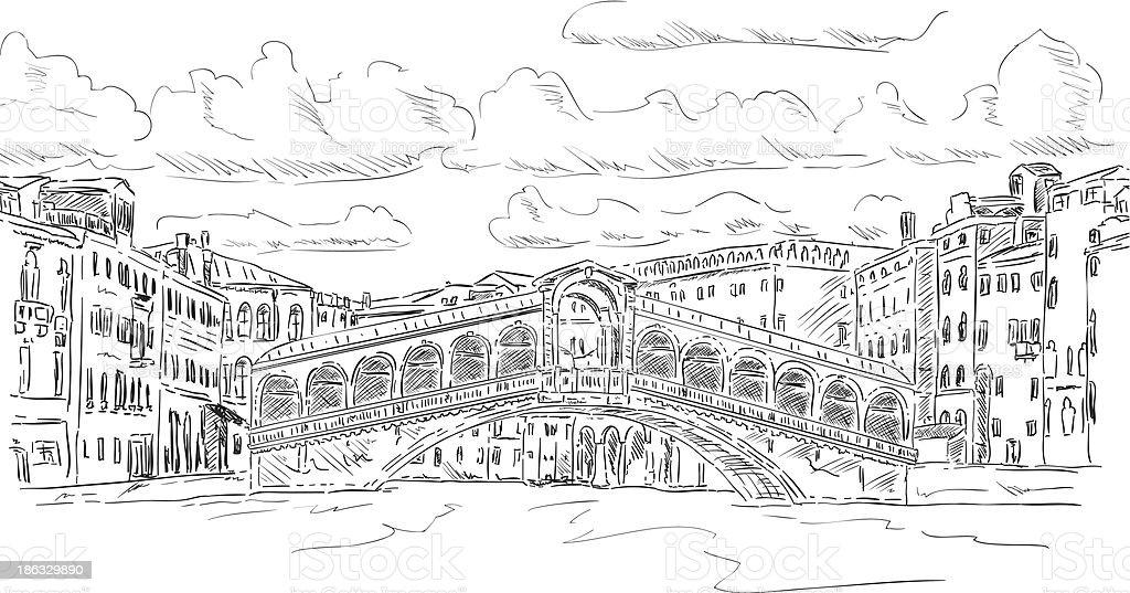 Rialto bridge royalty-free stock vector art