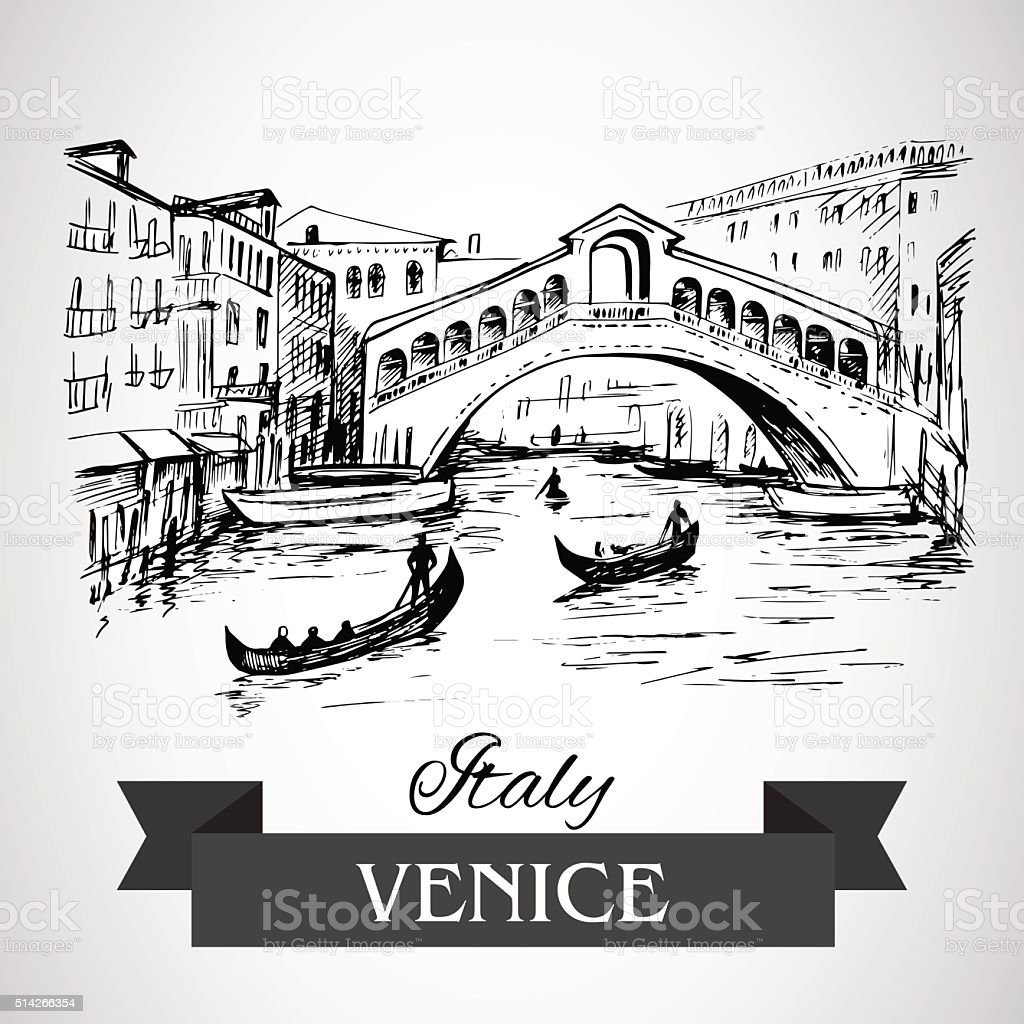 Rialto Bridge, Venice vector art illustration