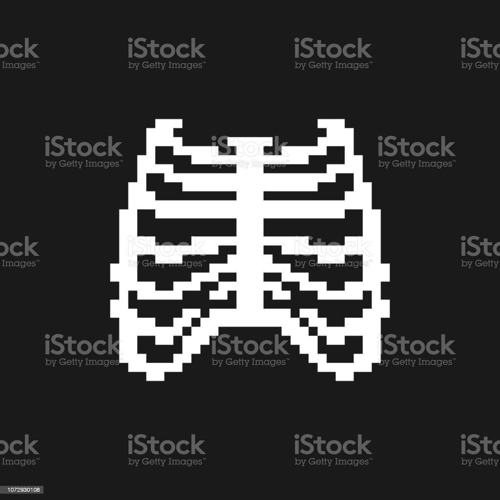 Bones Anatomy 8 Bit Pixelate Human Skeleton System 16bit Old Game Computer Graphics Style