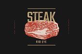 Rib eye steak vector illustration. Hand-drawn slice of meat tenderloin on black background. Concept of fresh farm products. Design element for menu, flyer, poster of butcher shop, market, restaurant.