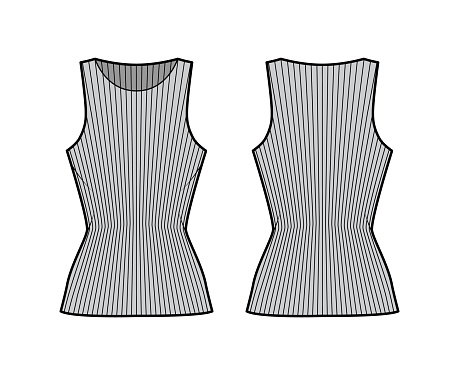 Ribbed cotton-jersey tank technical fashion illustration with slim fit, elongated hem, crew neckline. Flat outwear top