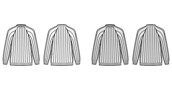 Ribbed Sweater technical fashion illustration with rib crew neck, long raglan sleeves, oversized, hip length, knit trim