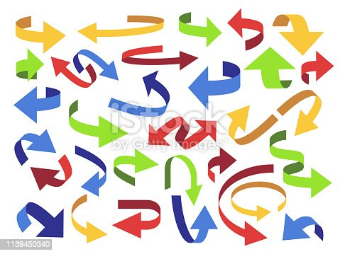 Ribbon 3d arrow. Flip arrows, colorful pointer and open icon. Curved tape arrow. Price up and down business presentation arrows, directional label or swirl web button. Vector isolated symbols set