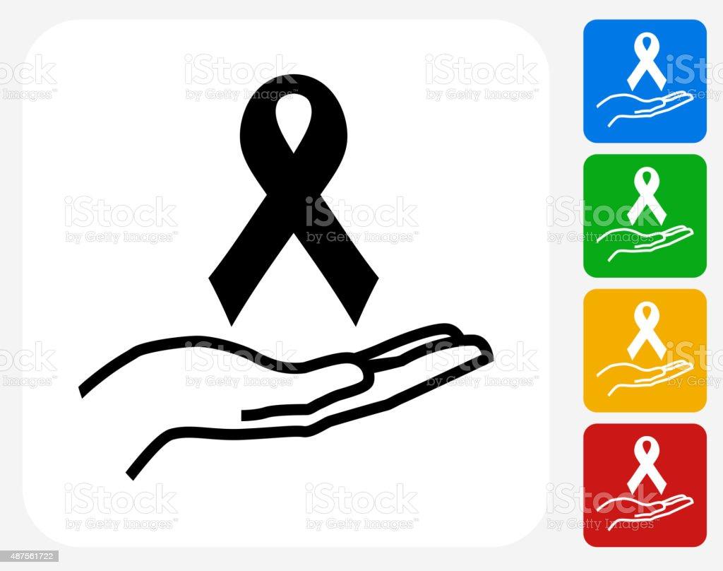 Ribbon and Hand Icon Flat Graphic Design vector art illustration