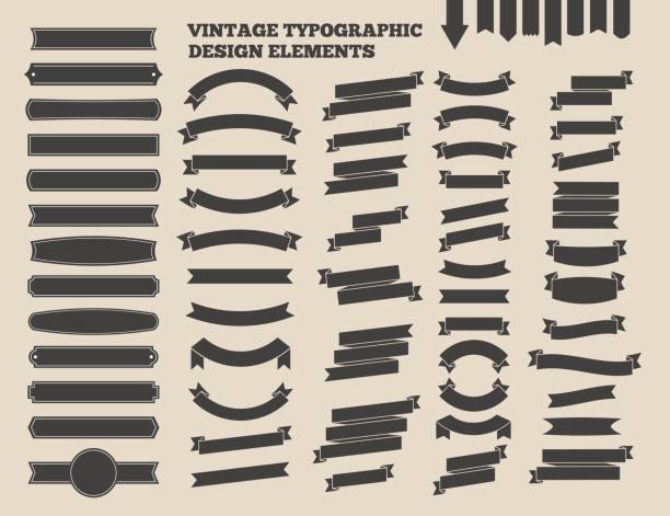 Ribbon and vintage emblem set. Design typographic element. Vector Illustration vector art illustration