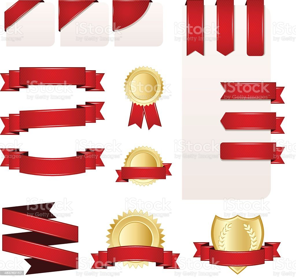 Ribbon, Banner and Label Set royalty-free ribbon banner and label set stock vector art & more images of award ribbon