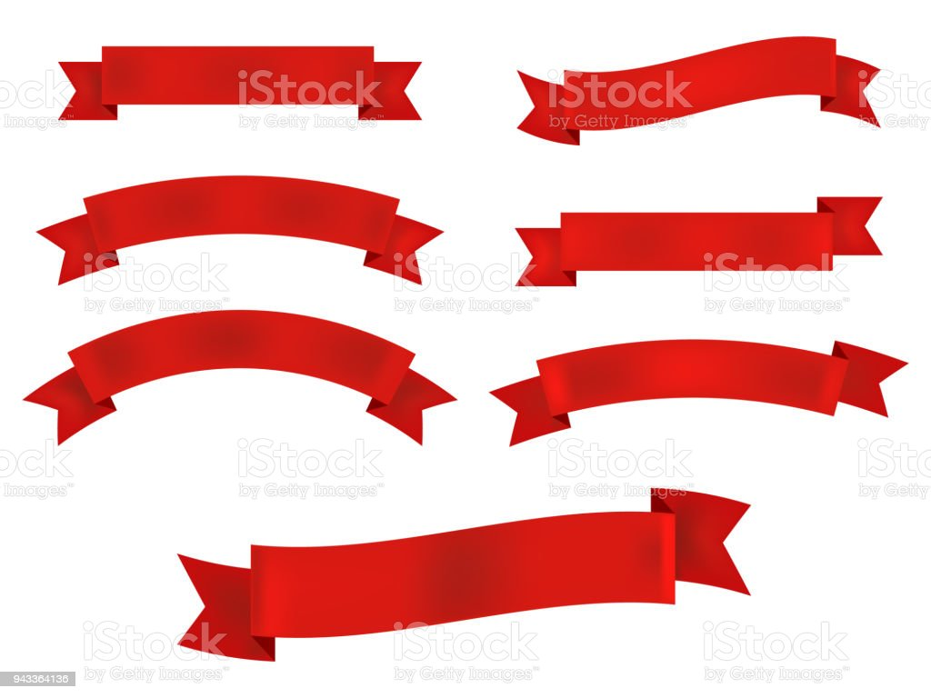 Ribbon banner set isolated on white background. Vector illustration.