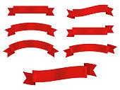 Ribbon banner set isolated on white background. Vector illustration. Eps 10.