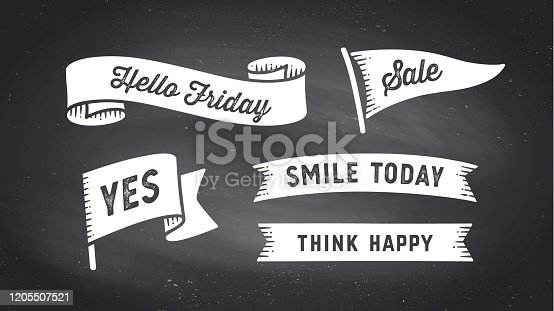 Ribbon Banner. Set of black and white ribbon banner with text, phrase. White isolated vintage old school silhouette ribbon with text Yes, Sale, Hello Friday on black chalk board. Vector Illustration