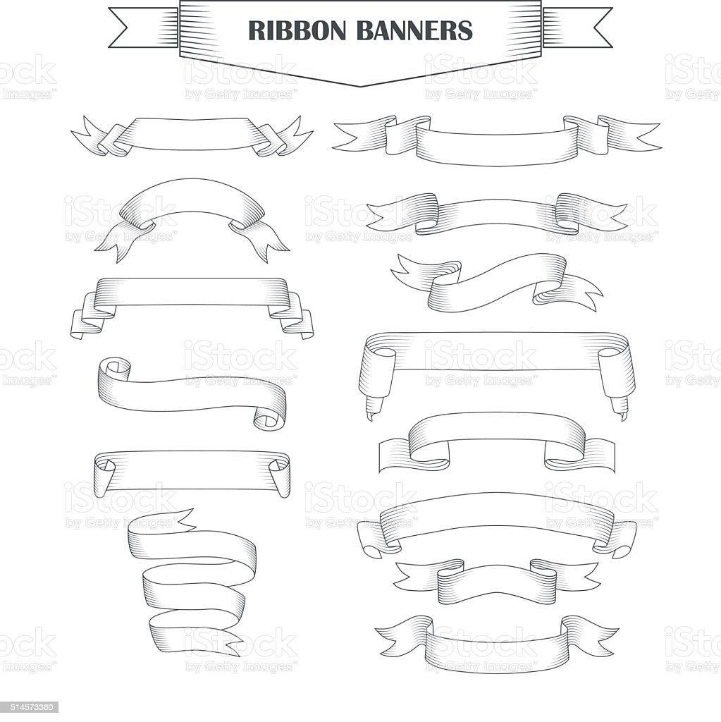 Ribbon banner set vector art illustration