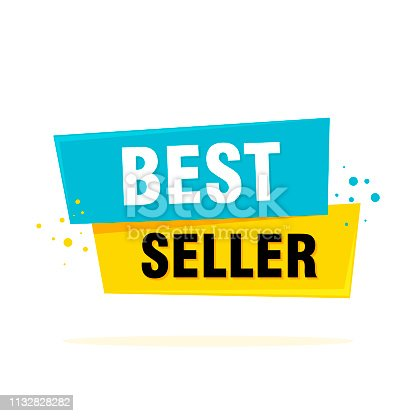Ribbon banner with text Best seller tag speech bubble. Vector Illustration.