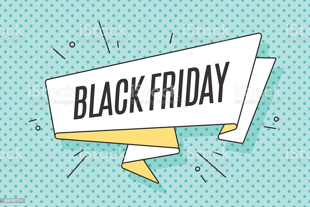 Ribbon banner with text Black Friday - ilustración de arte vectorial