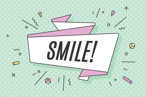 Banner de la cinta con el texto sonrisa - ilustración de arte vectorial