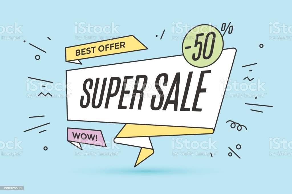 Ribbon banner with text Super Sale vector art illustration