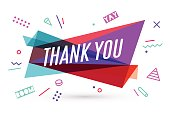 Ribbon banner with text Thank You