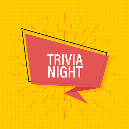 Ribbon banner with text trivia night, poster in pop art style. Vector stock illustration