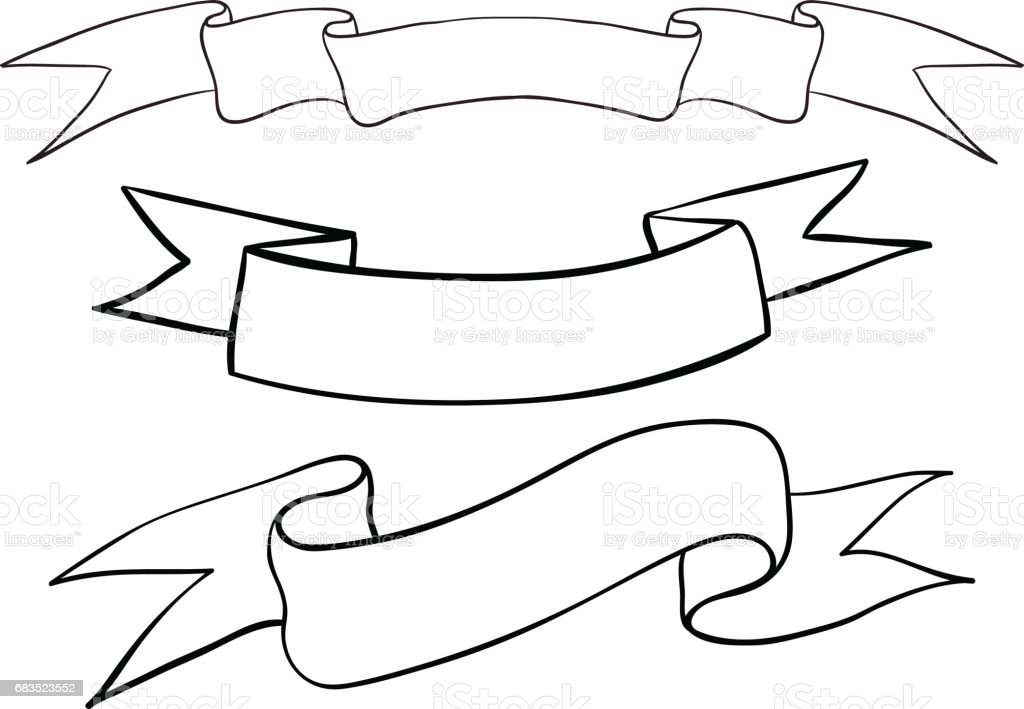 Tattoo Outlines Banner: Ribbon Banners Hand Drawn Outline Sketch Stock