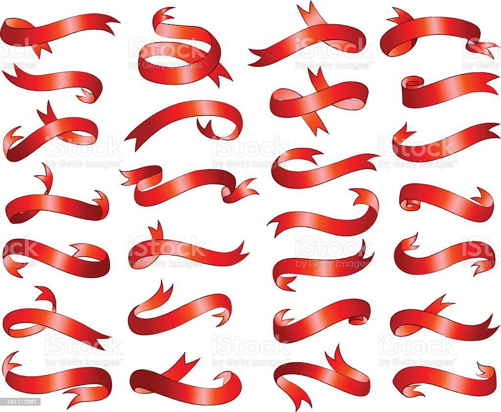 Ribbon banners in red vector illustration vector art illustration
