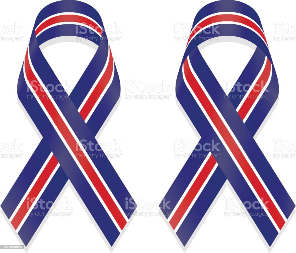 Ribbon blue white red stripes based on flag of United Kingdom (UK) isolated on white background, front and back view, a vector illustration. vector art illustration