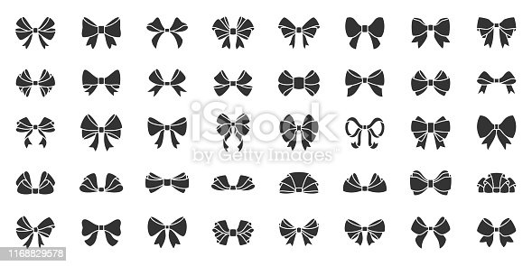Ribbon bow silhouette icons set. Elegant tie symbol, simple shape pictogram collection. Gift, sale, xmas, birthday decor design element. Flat black sign. Isolated on icon concept vector illustration