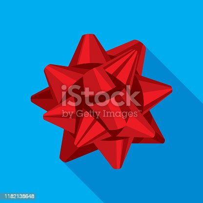 Vector illustration of a red ribbon bow icon in flat style against a blue background.