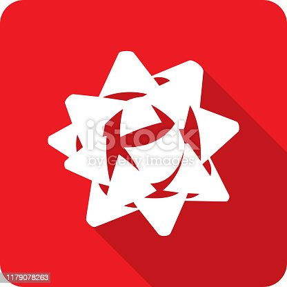 Vector illustration of a red ribbon bow icon in flat style.