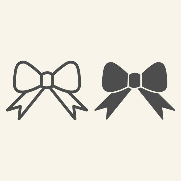 Ribbon bow line and solid icon. Holiday gift bow outline style pictogram on white background. New Year or Christmas decoration for mobile concept and web design. Vector graphics. Ribbon bow line and solid icon. Holiday gift bow outline style pictogram on white background. New Year or Christmas decoration for mobile concept and web design. Vector graphics anniversary silhouettes stock illustrations