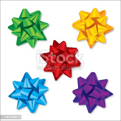 Vector illustration of a set of colorful ribbon bow icons.