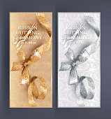 Ribbon cutting ceremony banners with floral design background and shiny curly ribbon with bow. Vector illustration