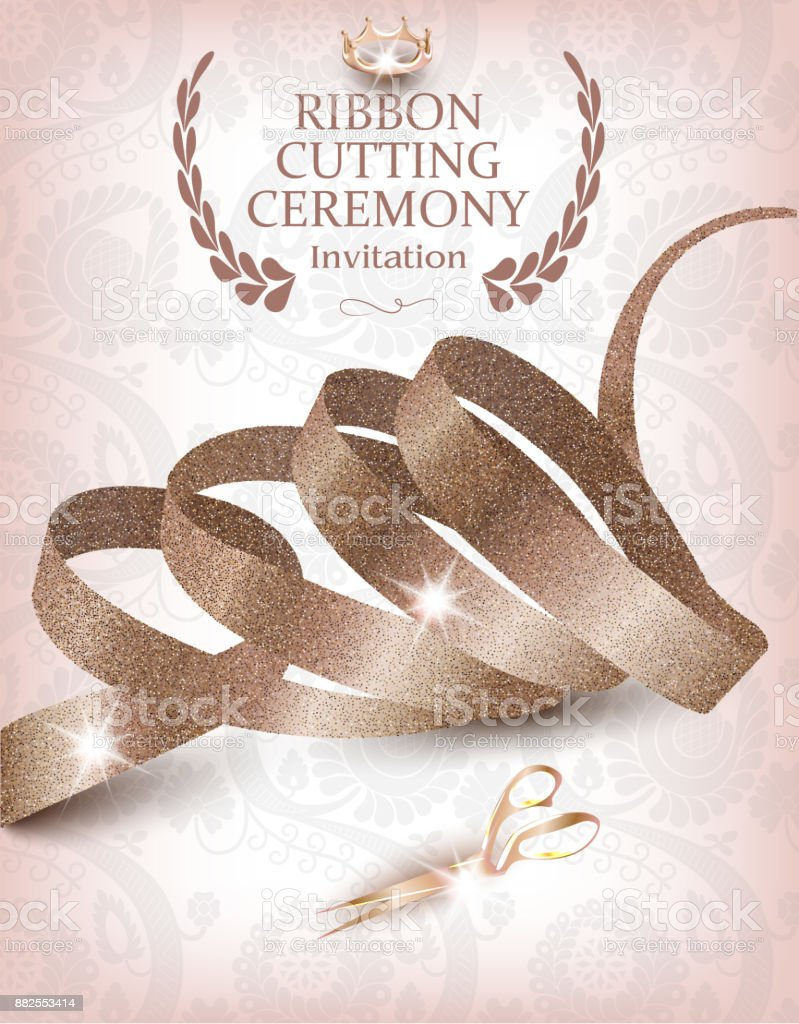 Ribbon cutting ceremony invitation card with beige curly ribbon ribbon cutting ceremony invitation card with beige curly ribbon scissors and crown royalty free stopboris Image collections