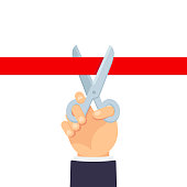 Grand opening ceremony illustration. Hand holding scissors cutting red ribbon. Simple flat cartoon vector design element.