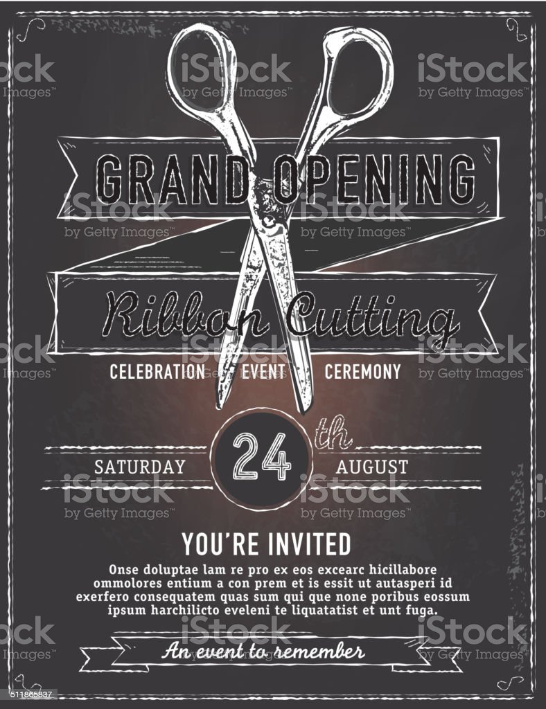 Ribbon Cutting Grand Opening Chalkboard With Scissors Invitation ...