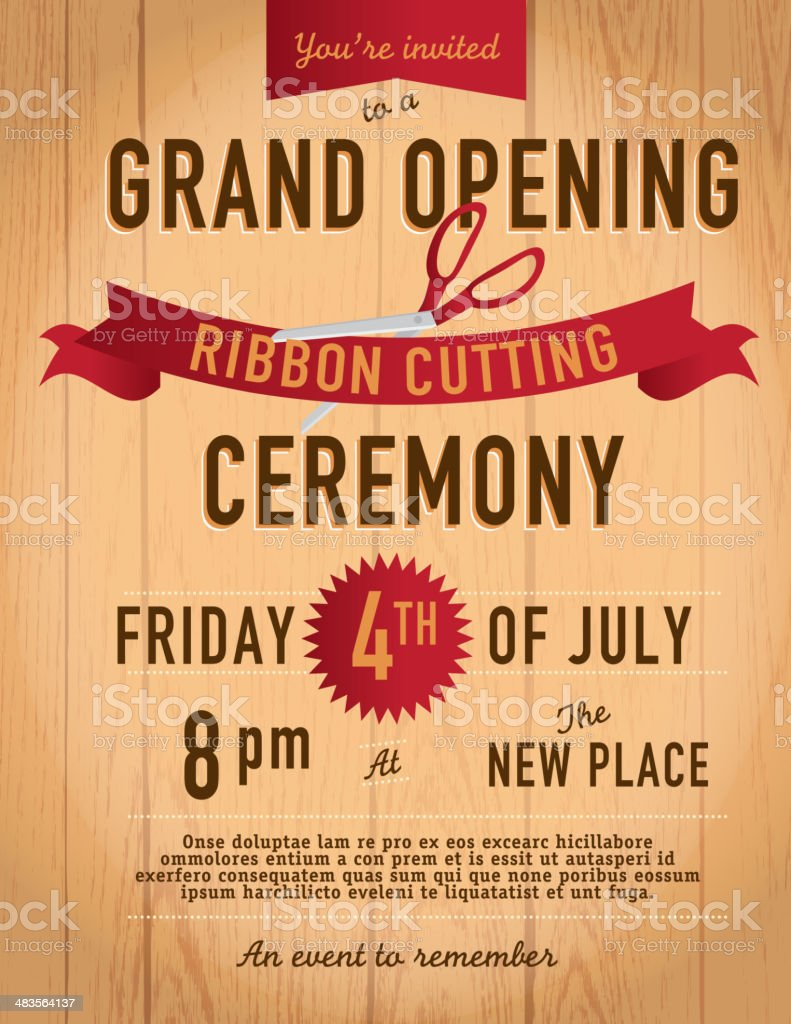 ribbon cutting invitation design template on wood background stock