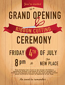Ribbon cutting invitation design template on wood background