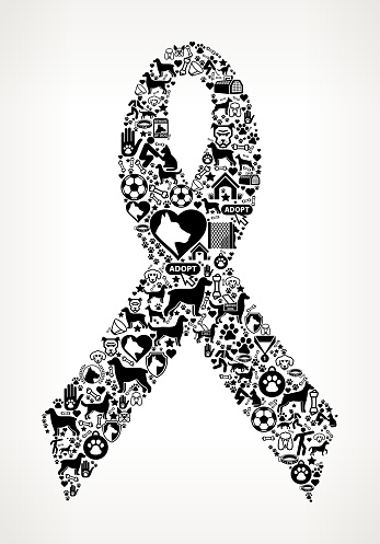 Ribbon Dog and Canine Pet Black Icon Pattern
