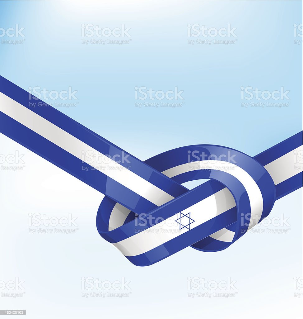 ISDRAEL ribbon flag vector art illustration