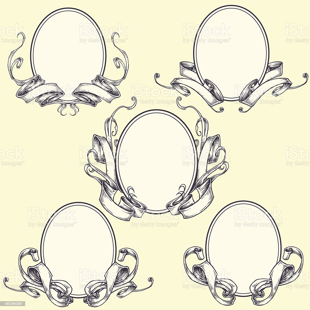 Ribbon frame and border ornaments vector art illustration