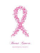 Ribbon from little transparent rink hearts, breast cancer awareness symbol.