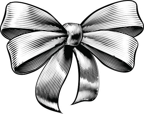 Ribbon Gift Bow Vintage Woodcut Engraved Etching