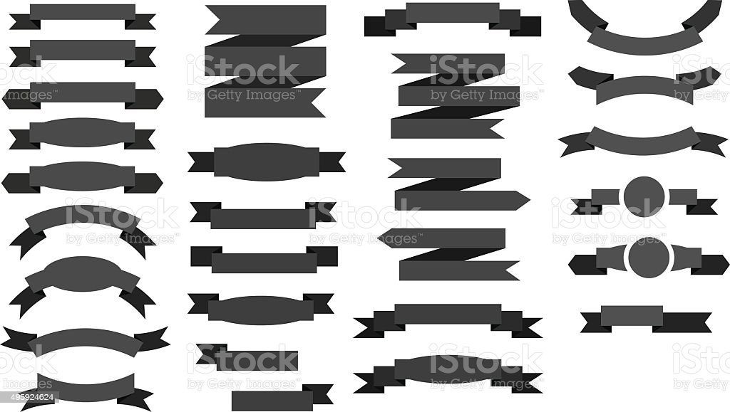 Ribbon icon set vector art illustration