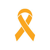 Ribbon icon. World Press Day symbol. Vector illustration isolated on white. Childhood Cancer Awareness Day