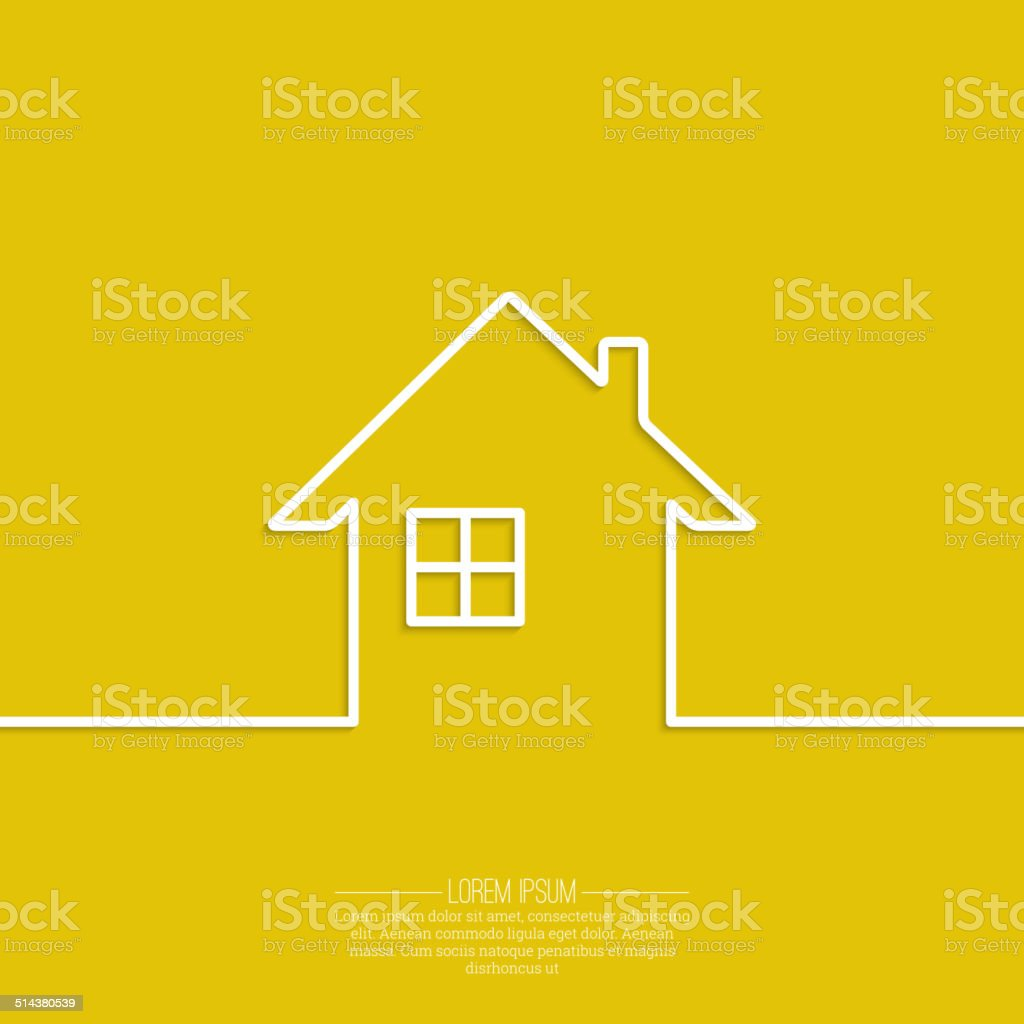 Ribbon in the form of house with shadow vector art illustration