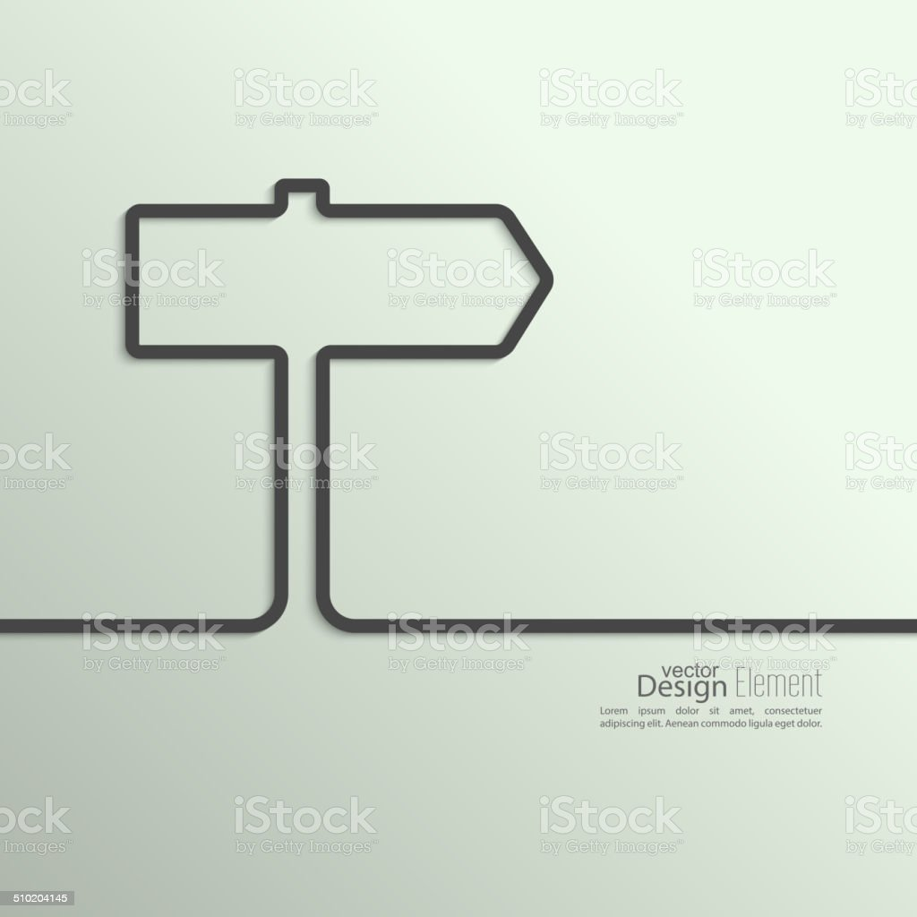 Ribbon in the form of signpost with shadow vector art illustration
