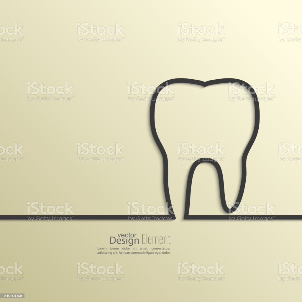 Ribbon in the form of tooth with shadow vector art illustration