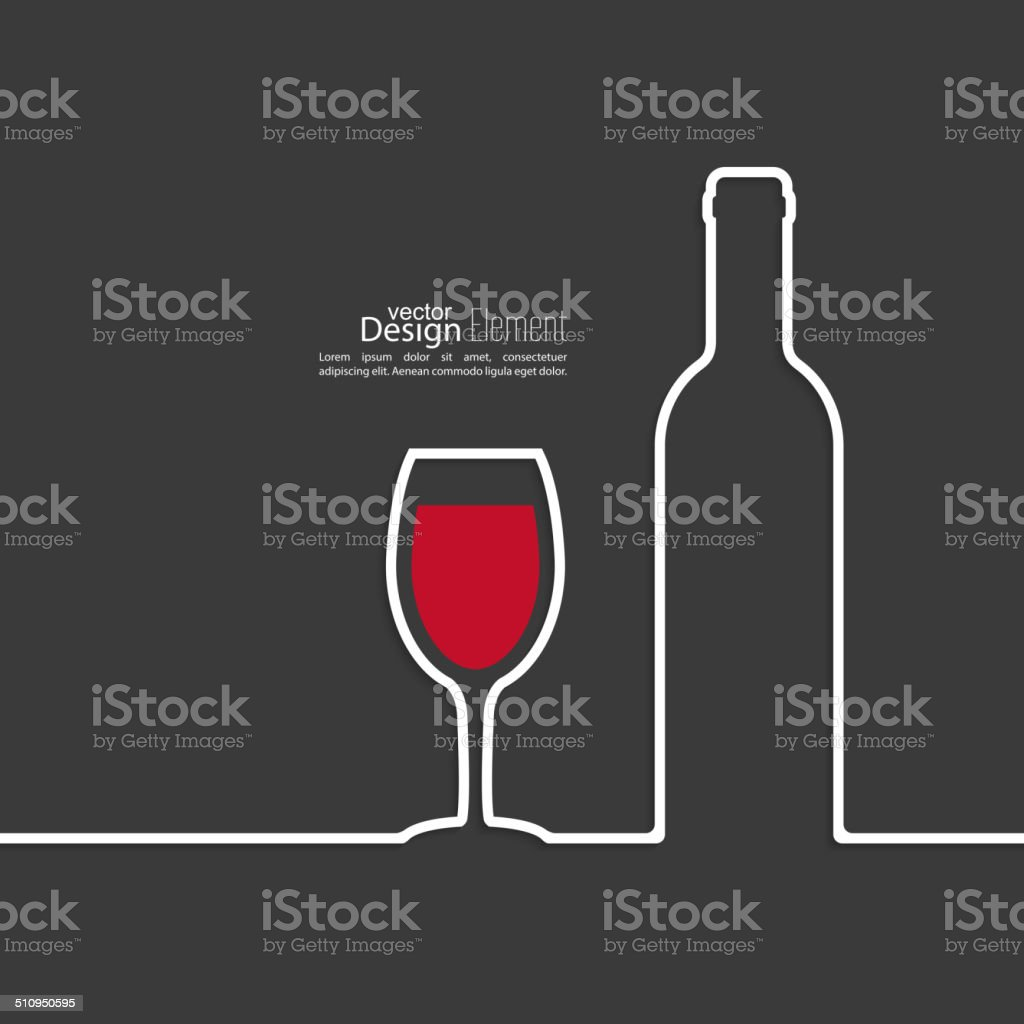 Ribbon in the form of wine bottle and glass vector art illustration