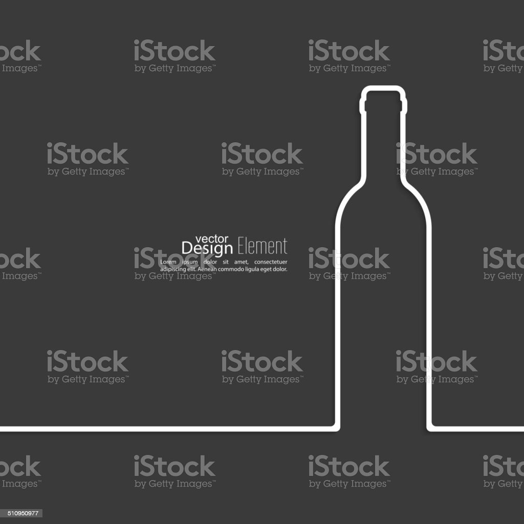 Ribbon in the form of wine bottle with shadow vector art illustration