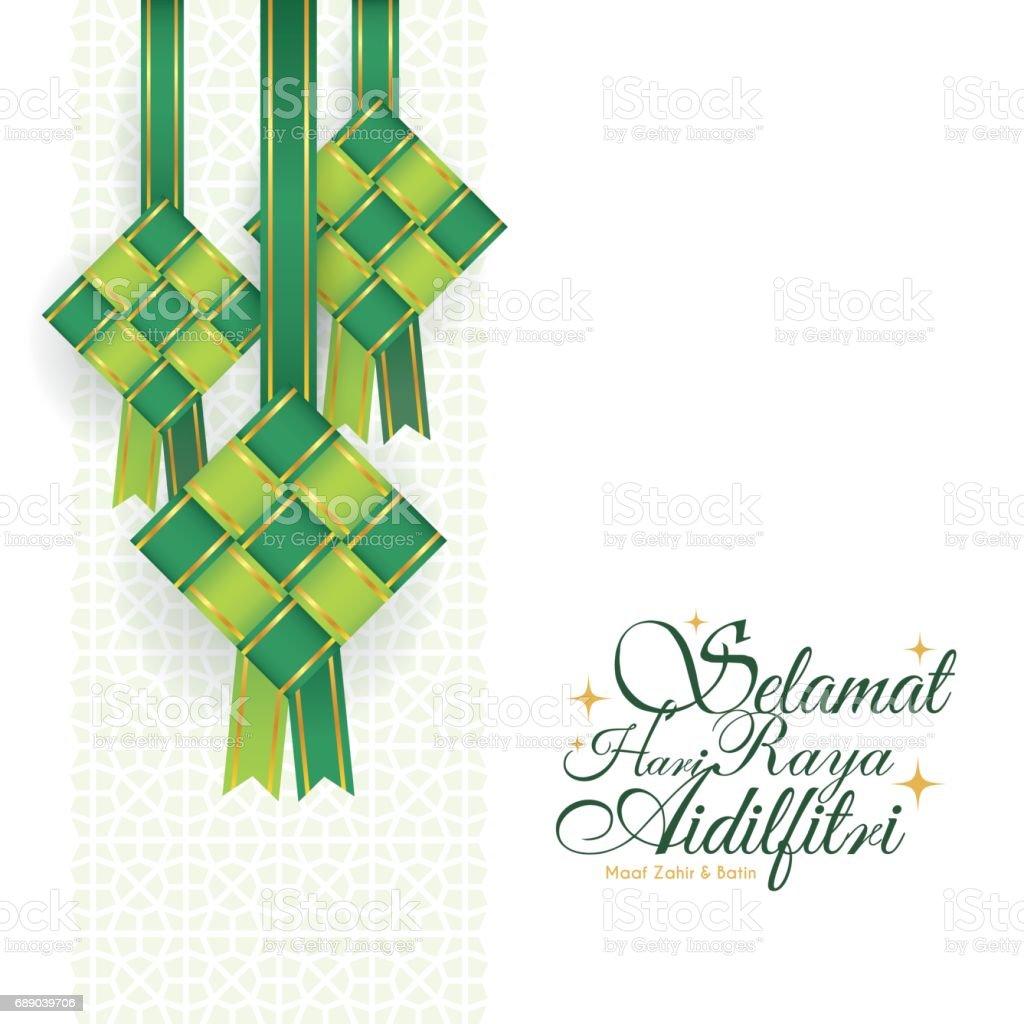 Ribbon ketupat - green vector art illustration