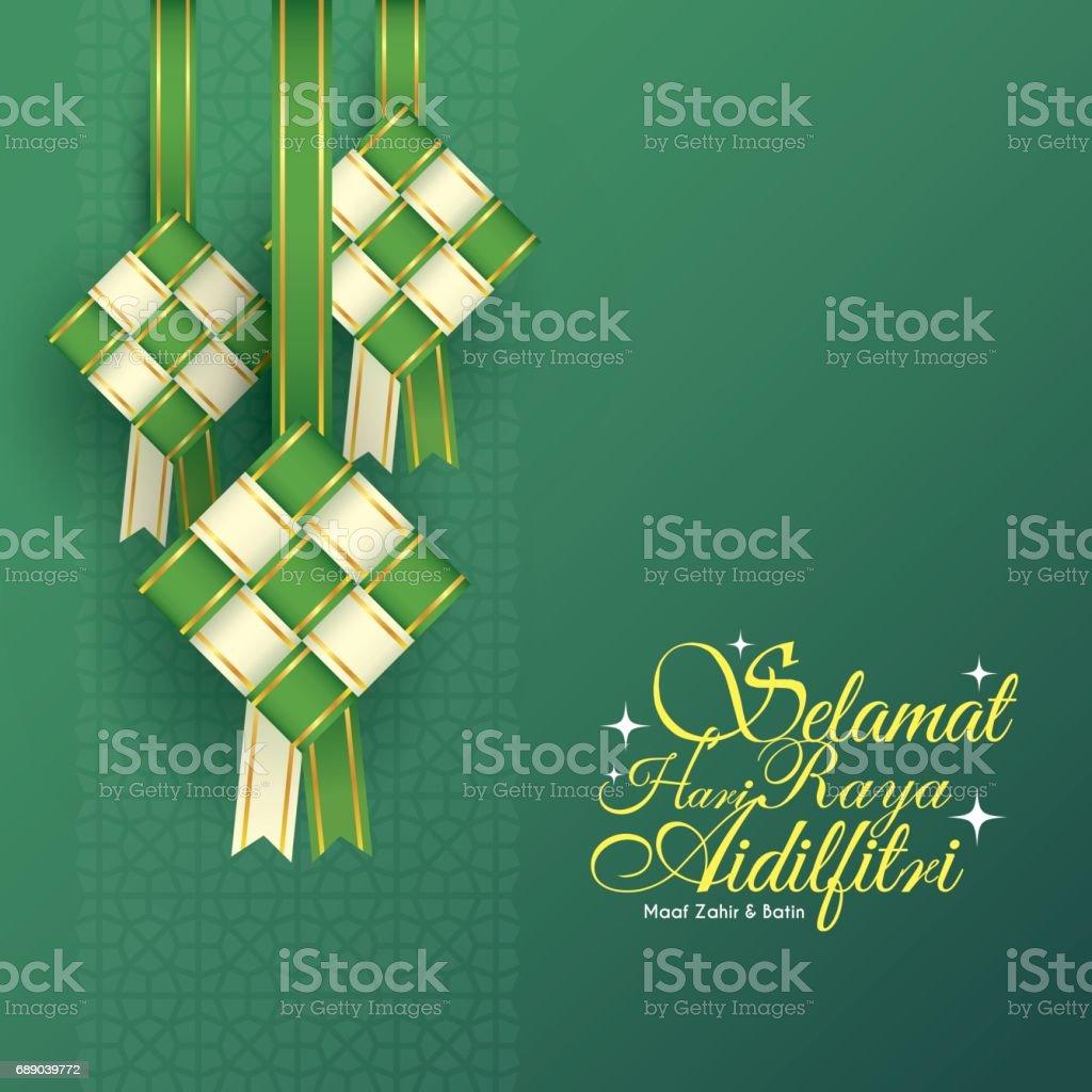 Ribbon ketupat - white vector art illustration